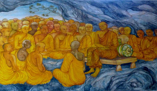 Photograph of murals in the Nava Jetavana temple