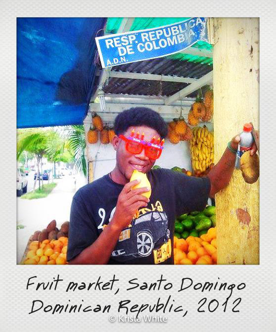 Photo of man in a Dominican Republic marketplace.